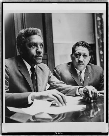 Bayard Rustin (l) with Dr. Eugene Reed at Freedom House, 1964. Photo courtesy of the Library of Congress.