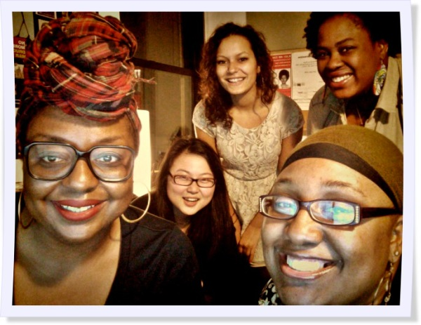 The staff of Progressive Pupil from left to right: Principal Organizer, Robin J. Hayes; Interactive Design Intern, Xiaoye Lin; Program Coordinator, Vedan Anthony-North; Outreach and Engagement Assistant, Malikah Shabazz; Community Outreach