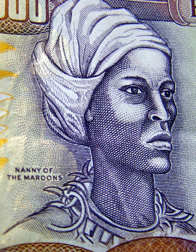 Artist Rendering of Nanny of the Maroons, on Jamaica's Five Hundred Bill, first circulated around 1976 when Jamaica declared her a National Heroine.