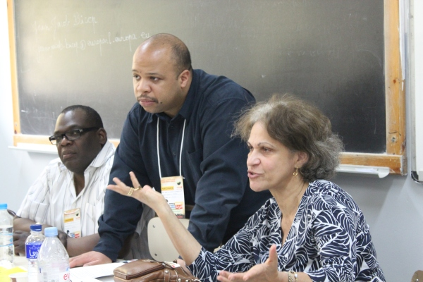 "Members of the ""From Colonization to Reparations"" panel. From left to right: Jean-Jacob Bicep, the interpreter and Mireille Fanon-Mendès"