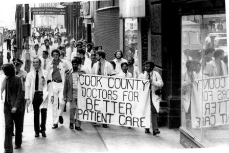 Cook County Hospital house staff officers on strike in 1975. Photo courtesy of the Chicago Tribune.