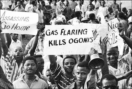Ogoni people protesting Shell in Nigeria. Photo courtesy of the University of Michigan.