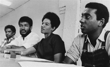 Officers of the Student Non-Violent Coordinating Committee in Atlanta on May 23, 1966. From left to right: James Forman, Cleveland Sellers, Ruby Doris Smith Robinson and Stokely Carmichael. Image courtesy of AP Photo and Horace Cort.