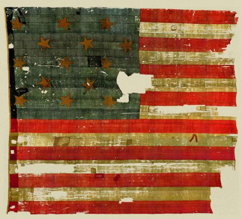 The original star spangled banner, which is on display at the Smithsonian's National Museum of American History.