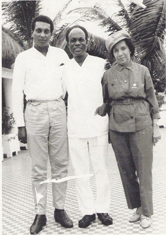 Stokely Carmichael, Kwame Nkrumah, the first President of Ghana, and Shirley Graham DuBois in 1967.