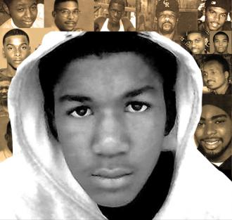 Trayvon Martin against the backdrop of others killed by police or vigilantes. Image courtesy: socialistworker.org