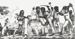 Drawing of Venezuelan slave revolt. Image courtesy of Executed Today.