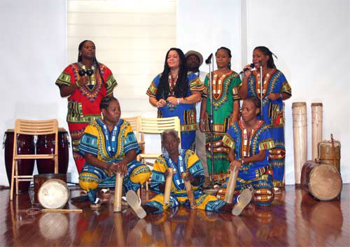 "AfroVenezuelan group ""Eleggua."" Photo courtesy of newsamericamedia.org"