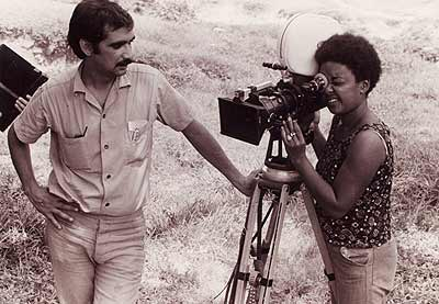 Sara Gomez filming on location. Image Courtesy of Africanfilm.com