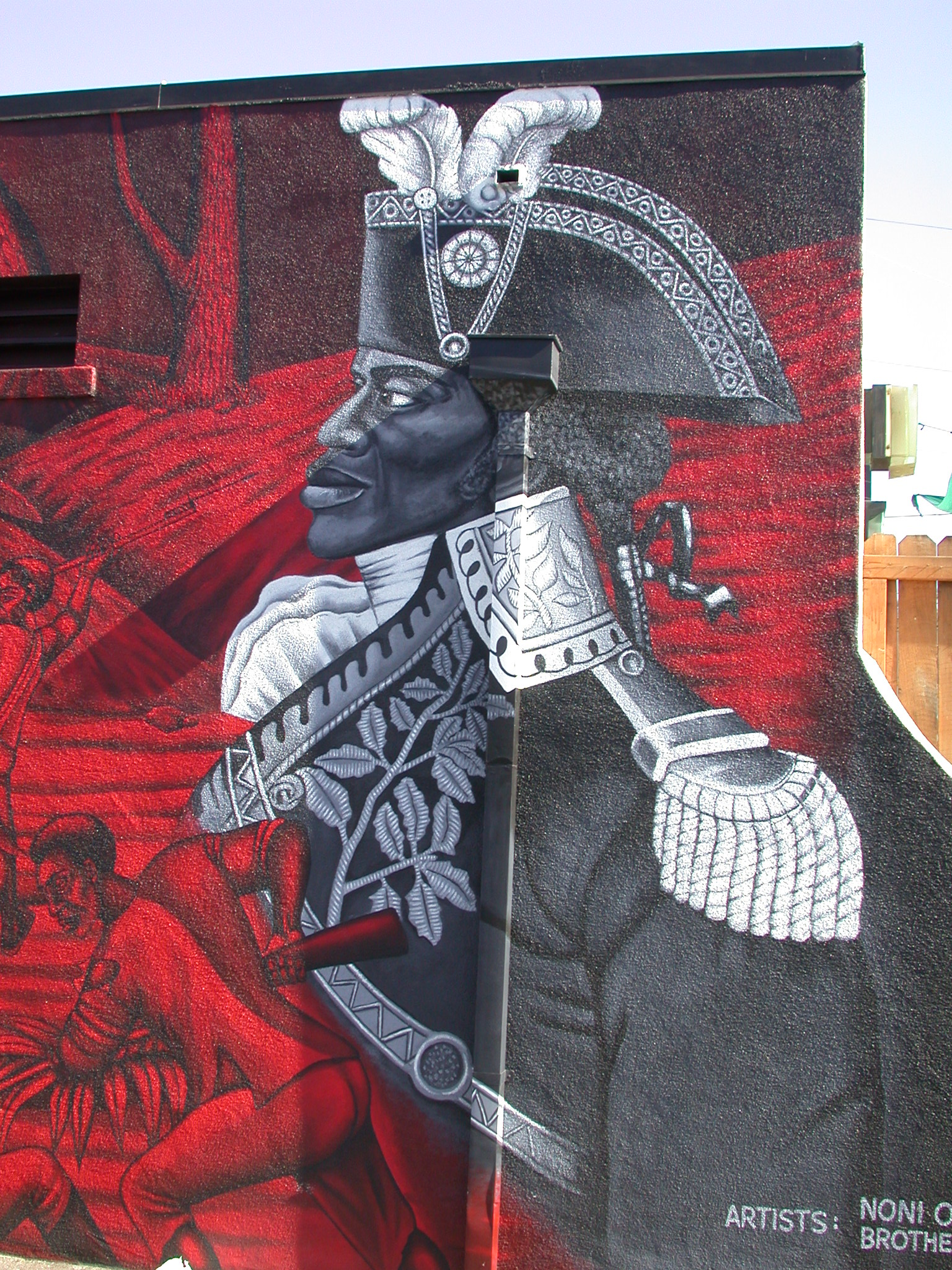 Mural of Jean-Jacques Dessalines, leader of the Haitian slave revolt - by Noni Olabisi in Los Angeles, California
