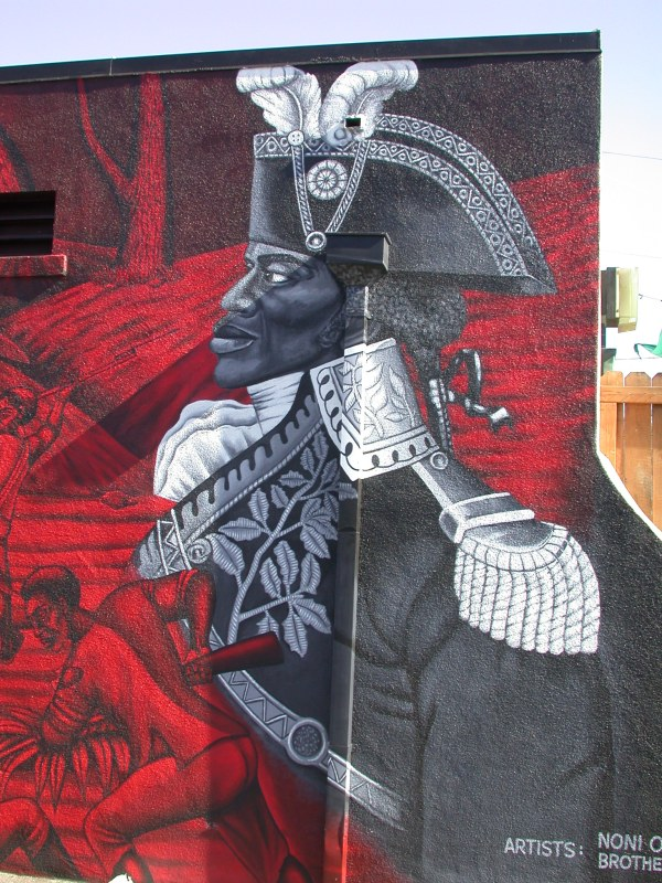 This mural of Jean-Jacques Dessalines, leader of the Haitian slave revolt, can be found on the Community Center for the Cultural Arts in Los Angeles, California.