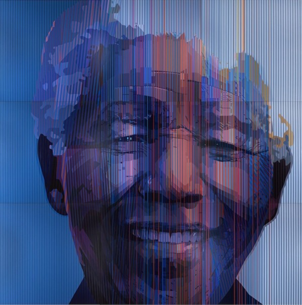 Artist Paul Blomkamp's portrait of Mandela that was painted to celebrate his 95th birthday
