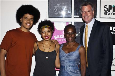 Bill De Blasio and His Family. Image Courtesy of Reuters