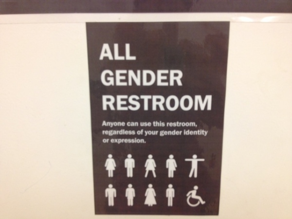Caption: An example of a gender neutral bathroom sign. This bathroom can be used by people with any gender identity.