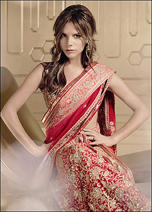 British Celebrity, and former Spice Girl, Victoria Beckham was wrapped in an Indian sari for the cover of Vogue.