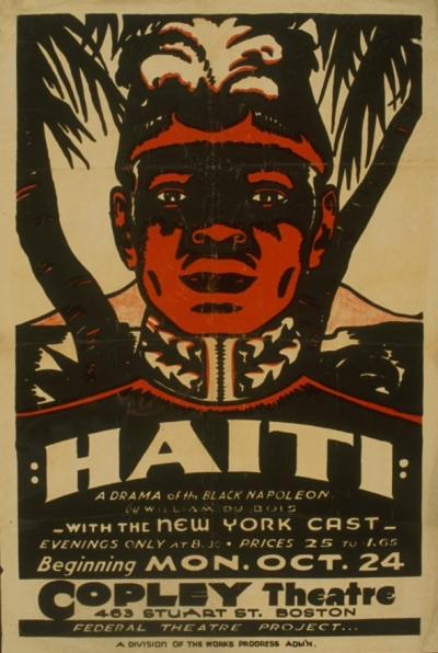 Portrait of Toussaint L'Ouverture from the 1938 production of Haiti: a Drama of the Black Napoleon, in Boston. Image courtesy of Wikipedia.