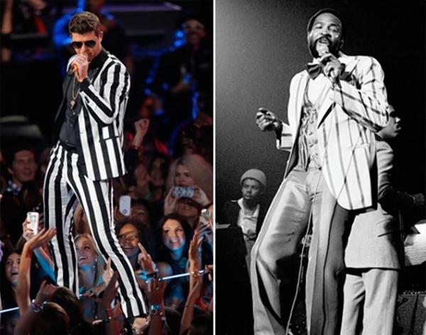 Robin Thicke performing at the MTV Video Awards in 2013 on the right and Marvin Gaye, in Amsterdam, in 1976. Image courtesy of the NYdailynews.com
