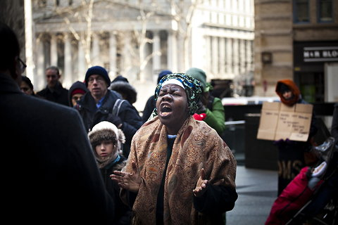 Delois Blakely at a 2014 Martin Luther King Jr. protest. Image courtesy of the New York Times.
