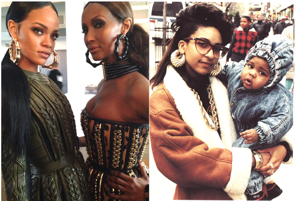 l. Rihanna and Iman model Balmain Gold Bamboo Earrings courtesy W Magazine Mother and Child at Brooklyn's Fulton Mall photographer Jamel Shabazz