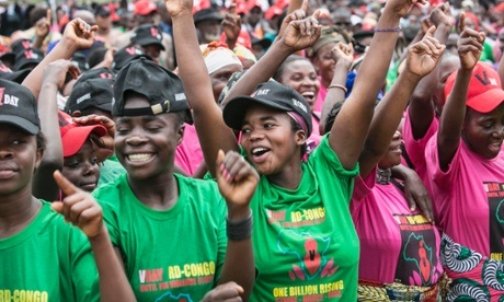 Congolese women rally together during a One Billion Rising rally in Bukavu, Democratic Republic of Congo, 2013. Photo Courtesy of STRINGER/REUTERS.