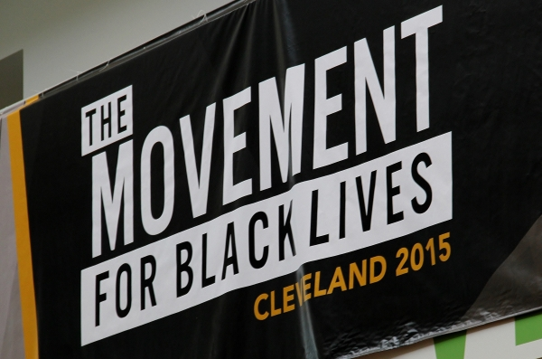 The Movement for Black Lives poster hung on upper level balcony of the Student Center