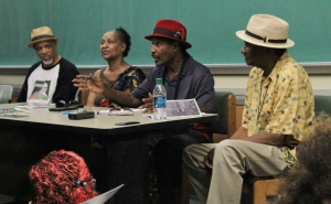 Ex-Panthers [left to right ]Ashanti Alston, Pam Hannah, Dhoruba Bin-Wahad, and Hank Jones reflect on Black liberation's past and present movements.
